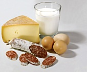 Cheese, milk, eggs and salami (protein foods)