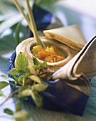 Yellow vegetable stew with coconut milk & lemon grass