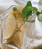 Lemon slice in a glass with sprig of lemon balm