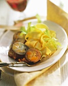 Beef roulades with vegetable stuffing & broad ribbon noodles
