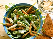 Vegetable salad with spring herbs