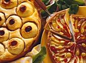 Apple quark cake and round fruit tart