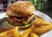 Cheeseburger with tomato, onions, gherkin, fries