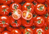Lots of tomatoes, in rows, with two tomato halves