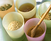 Cereals, cane sugar, bread drink etc in pots (basic foods)