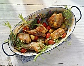 Braised rabbit with tomatoes & herbs in roasting dish