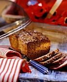 Swedish buckwheat bread with linseed, slices cut