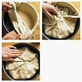 Making Khachapuri - cheese bread