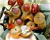 Greek Easter bows with Easter eggs; bagels with butter
