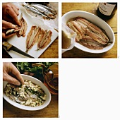 Pickling anchovies with garlic and parsley