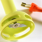 Electric hand mixer (under side) in pale-green plastic