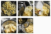 Making mashed potato with fried onions