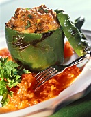 Stuffed peppers with mince and tomato sauce