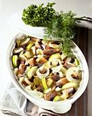 Matje herring stew with onions, apples, juniper berries etc.
