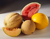 Netted melon, watermelon slice, galia melon, honeydew melon