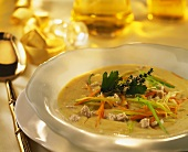 Goose giblet soup with vegetable strips & herbs on plate