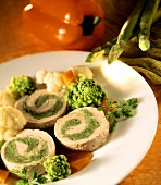 Turkey roulade with herb stuffing, romanesco & pepper sauce