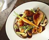 Chicken in red wine (coq au vin) with vegetables, mushrooms