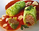 Stuffed cabbage with tomato rice, tomato sauce and Parmesan