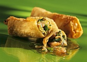 Spring rolls with shrimps on a green background