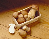 Ceps in and beside chip basket on wooden background
