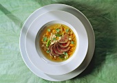 Pearl barley soup with lamb and vegetables