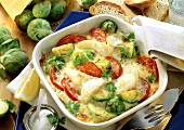 Brussels sprout gratin with fish fillet & tomatoes in dish
