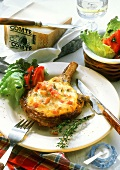 Pork cutlet with toasted cheese (Comte) topping & salad