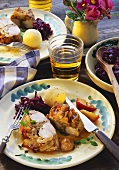 Rabbit with chestnut and apple stuffing and red cabbage