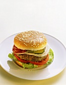 Hamburger with ketchup, gherkins, onions etc on plate