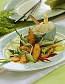 Chinese chicken ragout with vegetables and rice