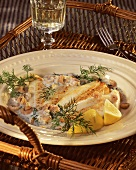 Plaice fillet with shrimps in dill sauce