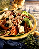 Greek peasant salad with olives and sheep's cheese