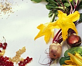 Still life with  beetroot, courgette flowers & redcurrants
