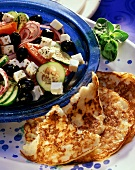 Rice pancakes with Greek peasant's salad
