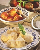 Quark dumplings with mirabelle compote
