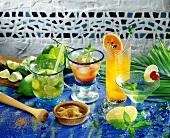 Four cocktails: Caipirinha, Tequila Sunrise, Jalapa, Acapulco