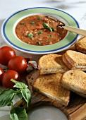 Tomato soup and mozzarella in carozza (cheese on toast)