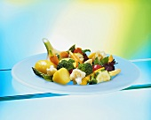 Steamed mixed vegetables on plate