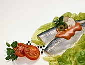 Herring with Head Lettuce and Tomato Sauce