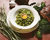 Kale tagliatelle with bacon and egg (a la carbonara)