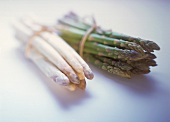 A Bunch of Green and A Bunch of White Asparagus