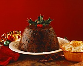 Christmas pudding with dried fruit