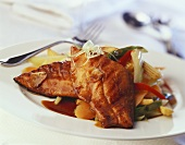 Chinese Style Cod with Vegetables in Sauce