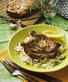 Beer-lovers steak: grilled pork steak on cabbage salad