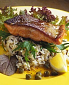 Fried salmon on rice with capers and lemon wedge
