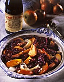 Red cabbage with cider, apples, bacon and onions