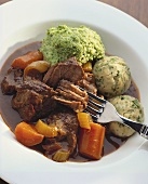 Beef stew with dumplings & parsley mashed potatoes