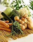 Various types of vegetables on straw mat