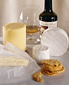 Various English cheeses, cider brandy and cracker